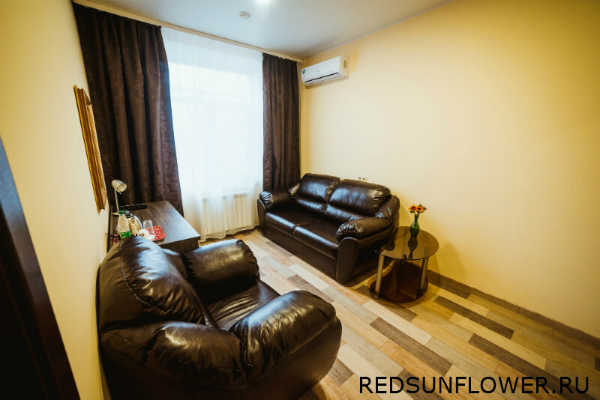 Комната отдыха с кожанными диванами