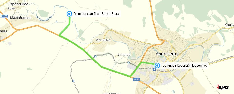 схема проезда от гостиницы «Красный Подсолнух».